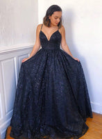 Navy Blue Lace Long A Line Spaghetti Straps Prom Dress, Evening Dress A79