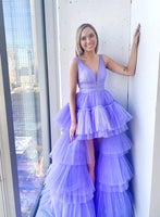 Purple Tulle High Low Sequins Long Layered Prom Dress, Homecoming Dress A80
