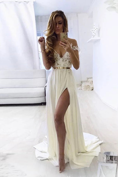White Chiffon Lace Off Shoulder Long Side Slit Prom Dress, Formal Dress A85