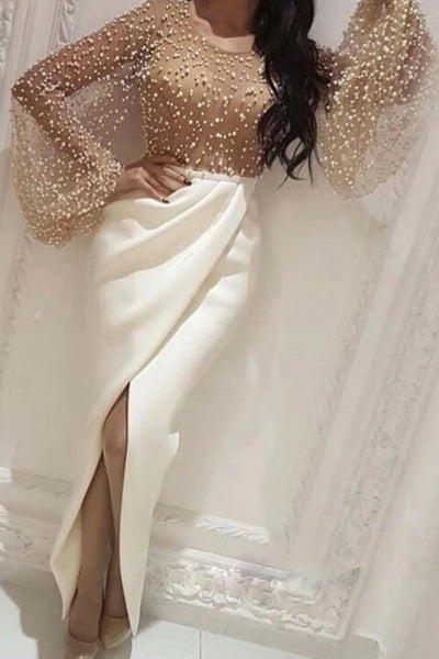 White Round Neck Long Puffy Sleeve Mermaid Prom Dress, Evening Dress A89
