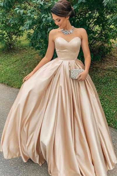 Sweetheart Neck Champagne Satin Strapless Long A Line Prom Dress A91
