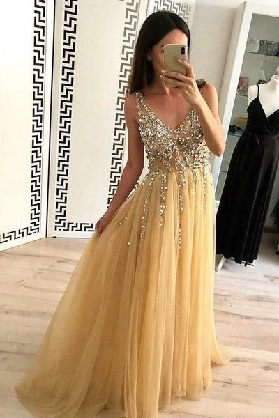 Gold Tulle Prom Dress with Rhinestones V-neck Bodice KS673