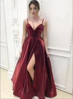 Burgundy v neck satin long prom dress B01