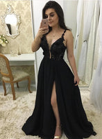 Black Tulle Deep V Neck Long Side Slit Prom Dress, Evening Dress B06