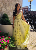 Yellow Tulle V Neck Spaghetti Straps Long Prom Dress With Lace Applique B08