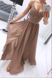 Champagne chiffon sweetheart lace long prom dress, chiffon evening dress B100