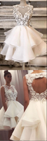 White tulle lace short prom dress white tulle lace homecoming dress B101