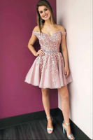 Pink off shoulder lace tulle short prom dress tulle cocktail dress B103