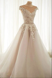 Light champagne tulle lace long prom dress tulle formal dress B104