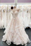 Light champagne tulle lace long prom dress champagne evening dress B107
