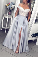 Gray Satin White Lace Off Shoulder Strapless Long Prom Dress, Evening Dress B10