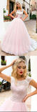 Pink round neck tulle lace long prom dress pink evening dress B112