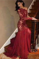Burgundy lace tulle mermaid long prom dress lace evening dress B114