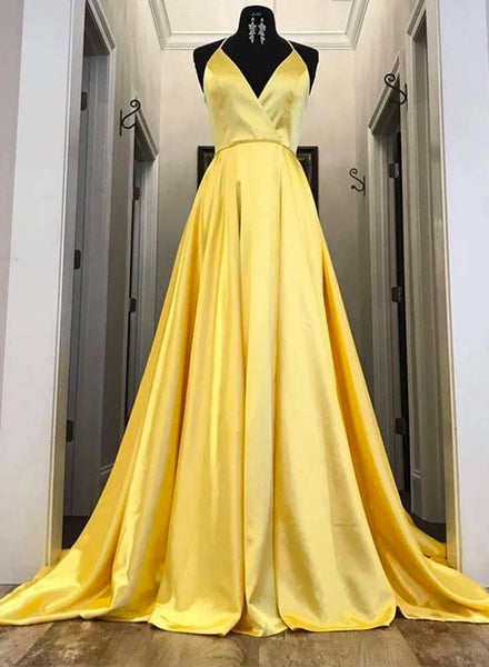 Simple Yellow Satin Strapless V Neck Long Prom Dress B11