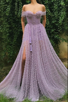 Purple sweetheart off shoulder tulle beads long prom dress B120