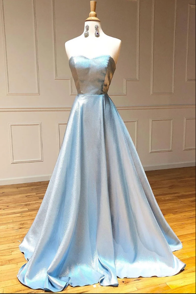 Simple sweetheart blue long prom dress blue long evening dress B122