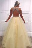 Yellow tulle v neck beads long prom dress yellow evening dress B123
