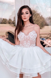 White tulle lace short white lace cocktail dress homecoming dress B130
