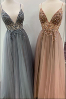 Elegant A line tulle lace long prom dress, tulle formal dress B139