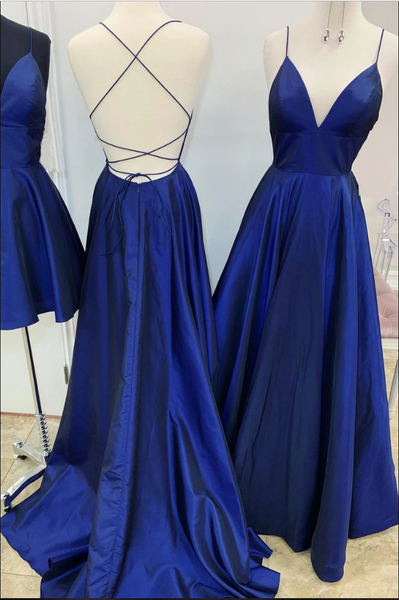 Simple v neck blue satin long prom dress blue evening dress B141