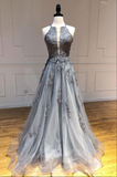 Gray tulle lace long prom dress gray tulle lace formal dress B142