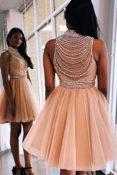 Unique high neck tulle beads short prom dress homecoming dress B147