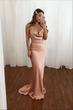 Pink sweetheart satin mermaid long prom dress pink evening dress B165