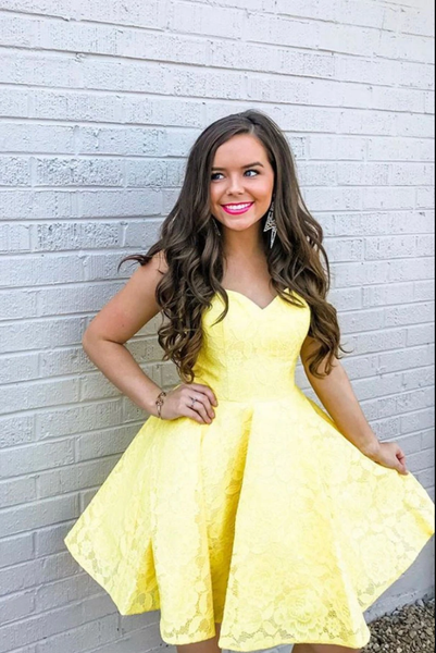 Cute yellow lace short prom dress yellow homecoming dress B171