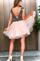 Cute v neck tulle beads short prom dress tulle homecoming dress B173