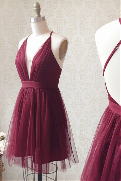 Burgundy v neck tulle short prom dress burgundy homecoming dress B174