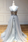 Gray round neck tulle lace long prom dress gray lace evening dress B176