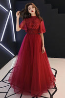 Burgundy Tulle Lace Mid Sleeve Long Prom Dress, Beaded Formal Dress B17