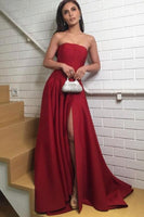 Simple Burgundy Satin Strapless Long A Line Prom Dress B180