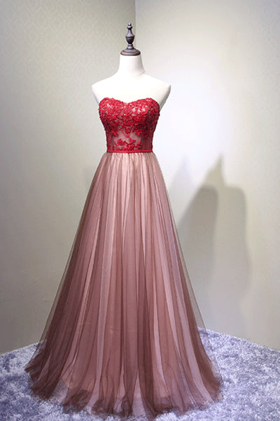 Red tulle lace sweetheart A-line long prom dress B183