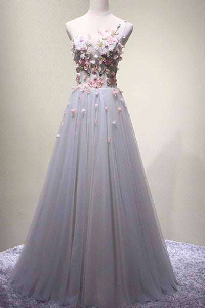 Gray tulle applique one shoulder A-line long prom dress B184