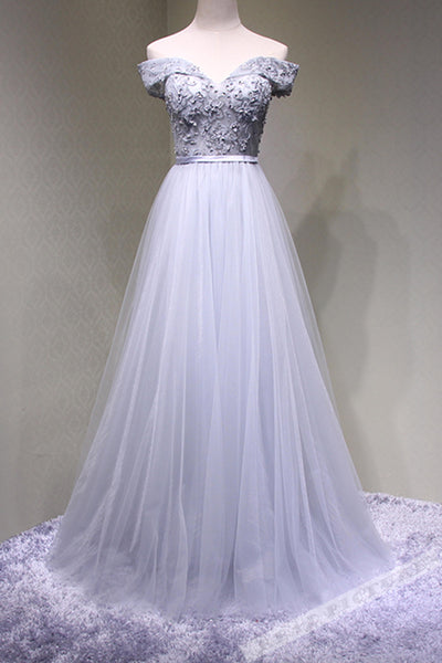 Gray tulle lace applique off-shoulder long prom dress,handmade dress B186