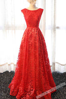 Red lace round neck A-line long prom dress,simple evening dresses B189