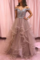 Sweetheart Long Tulle Sequins Off Shoulder Long Layered Prom Dress, Evening Dress B18
