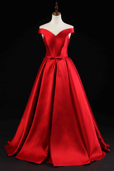 Red satin off-shoulder A-line long prom dress,lace up evening dress B190