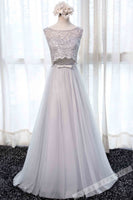 Gray tulle lace round neck long prom dress,round neck dresses B192