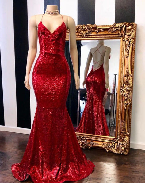 Red Sequin V-neck Spaghetti Straps Open Back Trumpet Prom Gown B193