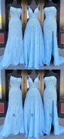 Blue Tulle Lace Customize Long Prom Dress, Evening Dress B197