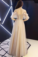 Champagne Tulle Lace Off Shoulder Long Prom Dress, Lace Formal Dress B20