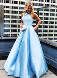 Baby Blue Satin High Neck Strapless Long Pearl A Line Prom Dress, Evening Dress B205