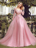 Pink Tulle Long Sleeve V Neck Lace Formal Prom Dress, Prom Gown B210