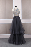 Unique tulle beads long prom dress tulle long evening dress B219