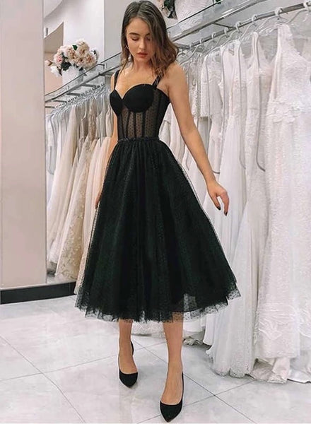Simple Black Tulle Sweetheart Short Prom Dress, Party Dress B21