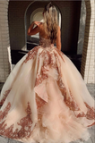 Champagne sweetheart tulle sequin long prom gown evening dress B223