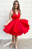 Simple red v neck satin short prom dress red homecoming dress B224