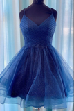 Royal Blue tulle short prom dress blue tulle homecoming dress B225